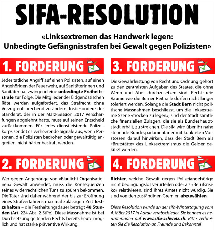 Resolution «Linksextremen das Handwerk legen»
