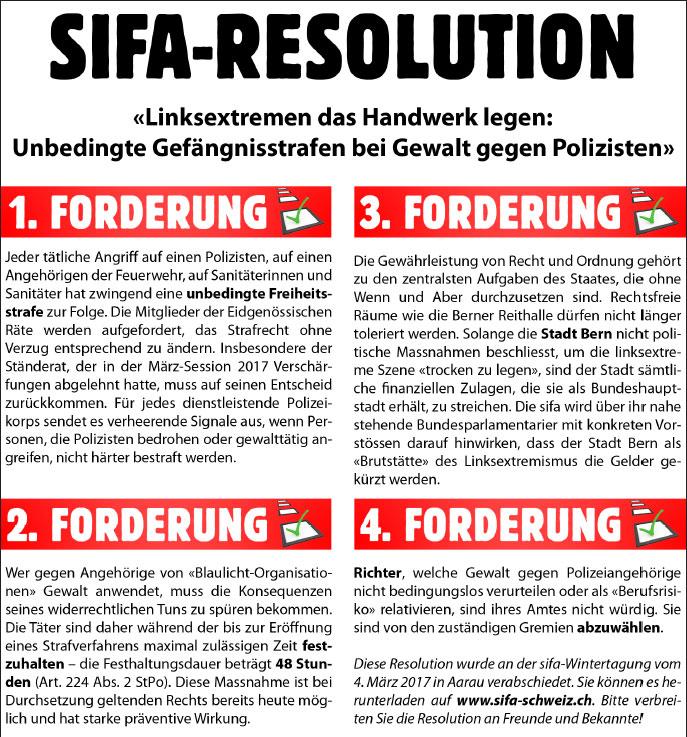 Resolution «Linksextremen das Handwerk legen»